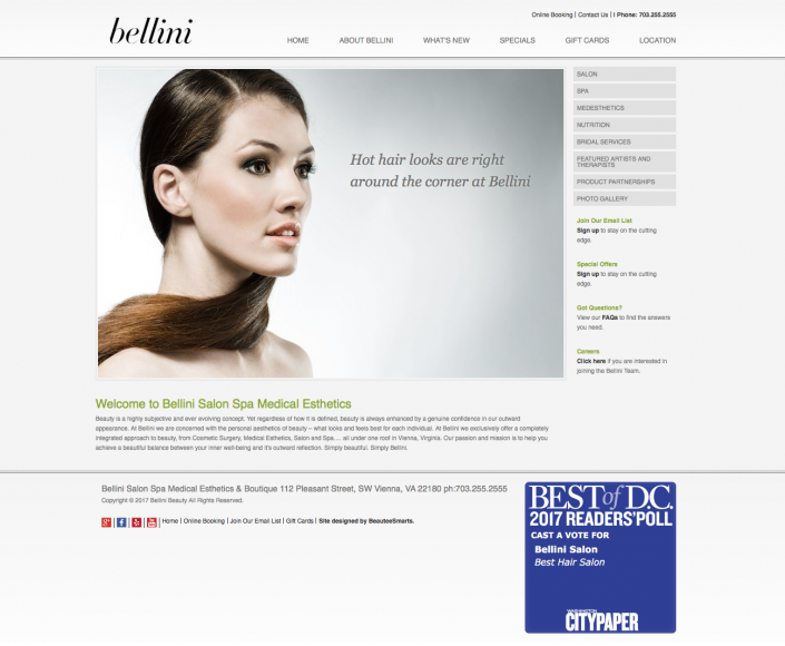 Bellini Salon Spa Website Designed by BeauteeSmarts