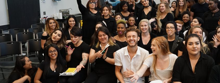 Carol Phillips at the Paul Mitchell School San Diego with Future Professionals
